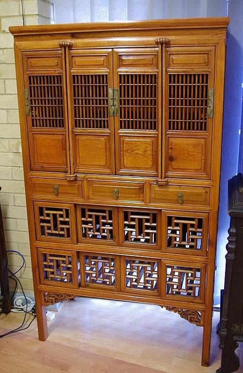 Chinese elm kitchen cabinet with 4 doors over 3 drawers ...