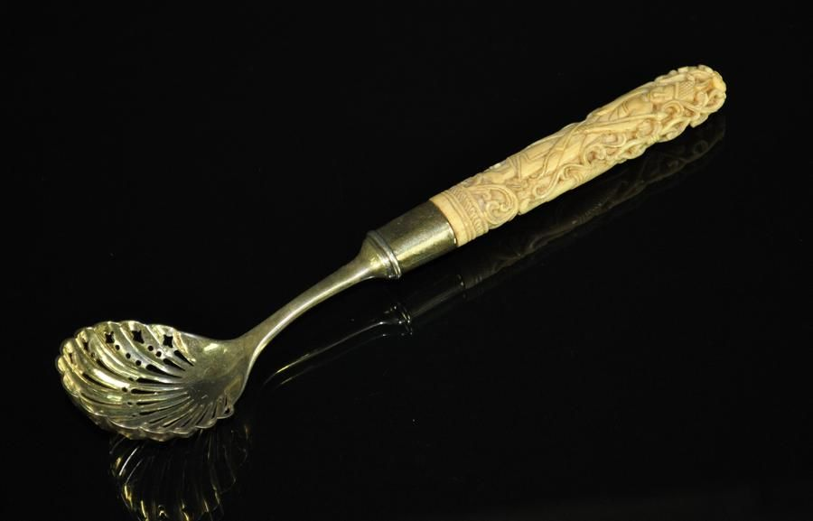 Early P Orr Sons Madras Silver Sifter Spoon Carved Bone Flatware Cutlery And Accessories Silver
