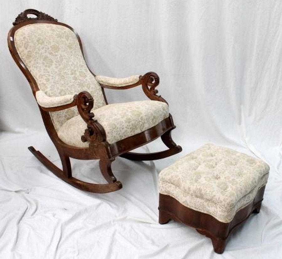 An Antique Upholstered Rocking Chair Wiyh Matching Foot Stool