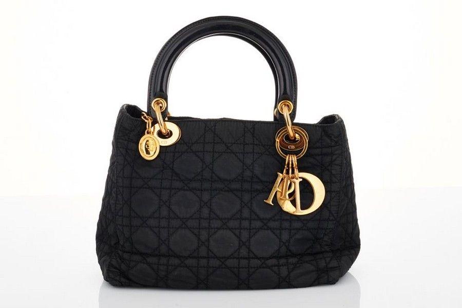 6a0d3fe2b Christian Dior, black 'Lady Dior' handbag, black cannage canvas ...
