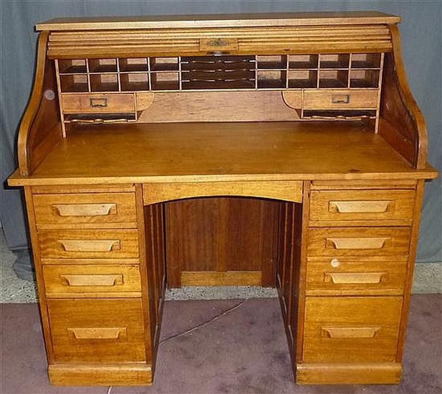 Double Pedestal Oak Roll Top Desk With Fully Fitted Pigeon