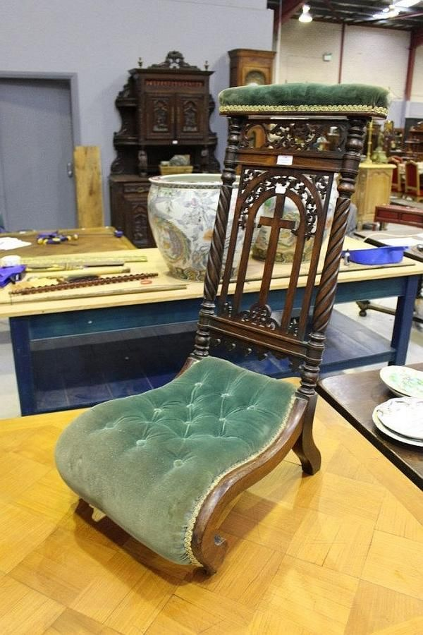 Antique Walnut And Rosewood Prayer Chair Seating