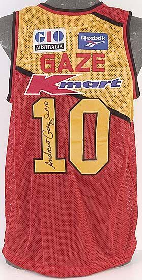 Andrew Gaze, signature on Melbourne Tigers basketball singlet ...