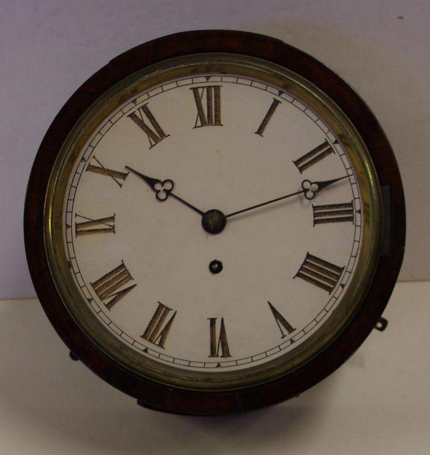 Antique Fusee Railway Clock With Key Amp Pendulum 25 Cm