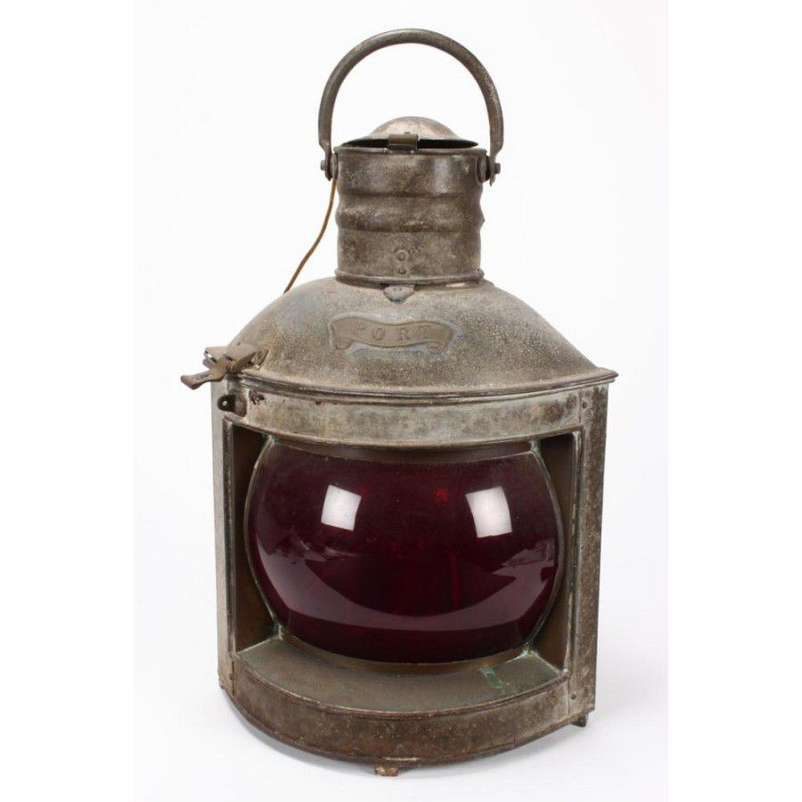 Ships port lantern, with red glass shade and brass fittings