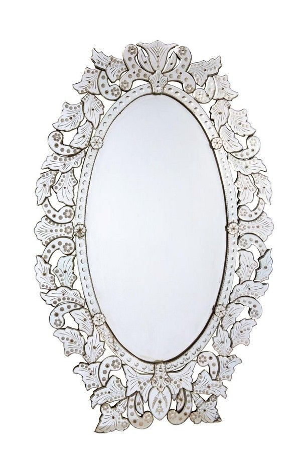A Large And Ornate Cut And Etched Glass Oval Wall Mirror Mirrors Overmantlel Wall Consoles Furniture