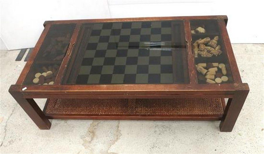 A Pine Rattan Glass Top Games Table With Chess Checkers Tables Zother Furniture
