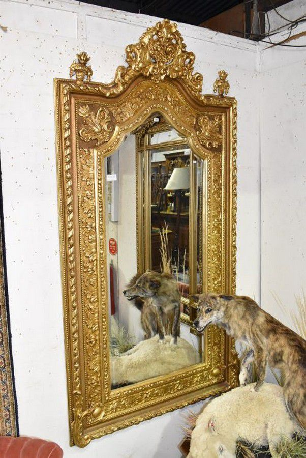Large Ornate Gold Framed Wall Mirror With Bevelled Glass Mirrors Overmantlel Wall Consoles Furniture
