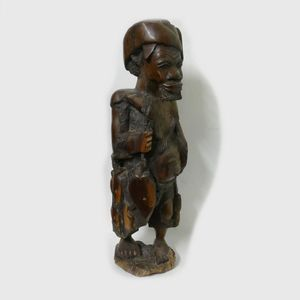 HAND CARVED EBONY WOOD CARVING WOODEN STATUE FIGURINE BRASS WIRE AFRICAN 43cm