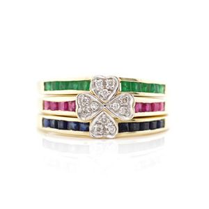 Multi circle gems blue and yellow sapphire ,ruby, green garnet , ruby , is surrounded diamond CZ sliver ring