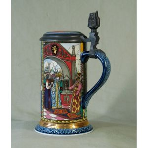 Four Mettlach Russian Fairy Tales Steins. Impressed Villeroy And Boch  Bases. All Signed By Isabelle Von Boch, 1989; And With Booklets. H21.5 Cm