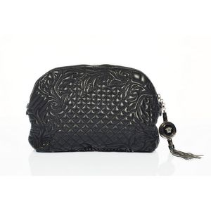 61428800a93 Versace, black Vanitas bag, quilted and embroidered lambskin, chain mail  detailing to base, oversized charm tassel, double zip closure, electric  blue satin ...