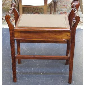Antique Bench Style And Circular Piano And Music Stools