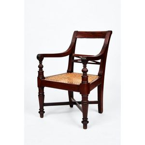 Anglo Indian Mahogany Childu0027s Chair, Early 19th Century, Carved Arms And  Supports, With Caned Seat, Raised On Turned Reeded Legs, Height 59 Cm.