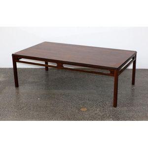 Danish Rosewood Coffee Table, With Rectangular Top Raised Onu2026