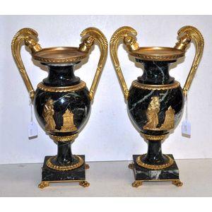 Regency Brass  Pedestal Urn Vase with Pineapple Embellished Lid Polished /& Etched upon Marble Base