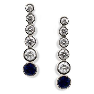 5636af474 A pair of sapphire and diamond drop earrings by Tiffany & Co., from the Jazz  collection, each set with a graduated row of diamonds totalling 0.50cts, ...