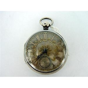 Antique British Art Nouveau Lady's Pocket Watch Stand Enamel Silver 1899 Antique Pocket Watches