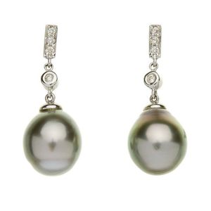 Hallmarked 9ct 9k Gold Cultured 9-10mm White Freshwater Pearl Leverback Earrings