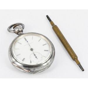 Antique Antiques British Art Nouveau Lady's Pocket Watch Stand Enamel Silver 1899 Antique