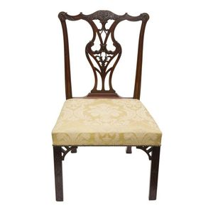 2437ce498e79 A pair of Georgian style mahogany side chairs in the  Chippendale  manner