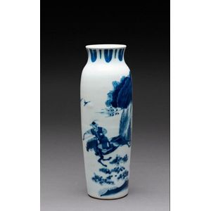 A Large Chinese Blue And White Decorated Vase 20th Century Ceramics Chinese Oriental