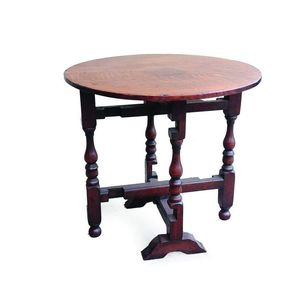 A Georgian Small Oak Gate Leg Folding Table, Solid Round Top With Turned  Legs. Width 60 Cm, Height 55 Cm.