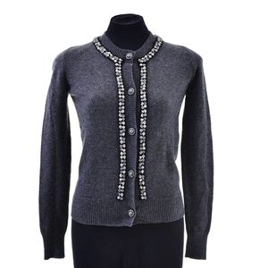 6fc501823124 A Cardigan by Chanel, styled in grey cashmere with faux pearl and bead  trim, labelled size FR36
