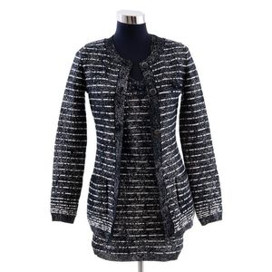 7469fd61f5d1 A dress and Cardigan Twinset by Chanel, styled in black and white wool  blend with metallic finish, labelled size FR36