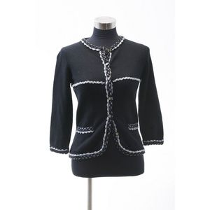 07aa886535dc A cardigan by Chanel, styled in black cashmere blend with multicoloured  trim, labelled size FR36.
