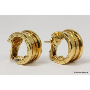 8ae33e6ec A pair of Bvlgari B zero 1 earrings, 18ct yellow gold, fully hallmarked by  Bvlgari Italy, from the B zero 1 collection, presented as wide, small sized  hoops ...