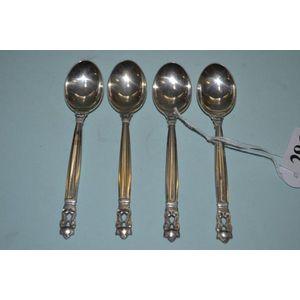 Georg Jensen Silver Coffee Spoon VINTAGE Beaded// Kugle