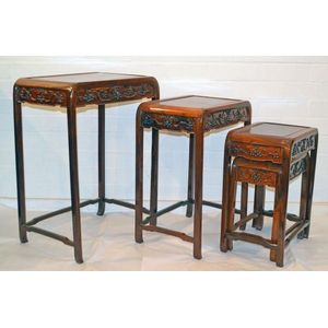 Tables chinese furniture carters price guide to antiques and a chinese carved nest of four tables height 705 cm top 48 x 36 cm largest watchthetrailerfo