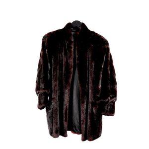 Vintage Demi Buff Genuine Brown Black Diamond Ranch Mink Fur Coat Jacket Sz M