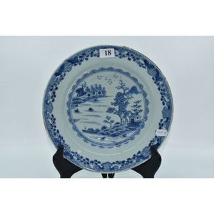 Chinese Blue and White Porcelain Hand-Painted Flowers Plate w Qianlong Mark