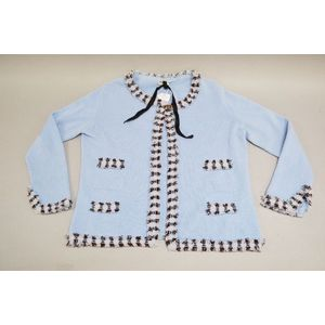 592d8b2657c8 Chanel cashmere cardigan blue checkered fringe trim. Approx size 10-12