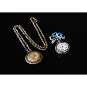 407580e9b Two various ladies pendant watches, including Tirza on silver chain  (appears operational); and early pearl set & enamel on silver, brooch watch.