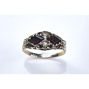 f70ac4b43 A Victorian ring, two diamond shaped amethyst and four seed pearls in  engraved mount. Yellow gold. Weight 1.71 grams. Ring size L. Show 1 more  like this