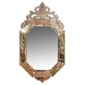 a25a8d00e59f An antique Venetian glass mirror, circa 1800s. 116 cm high, 65 cm wide.  Show 6 more like this