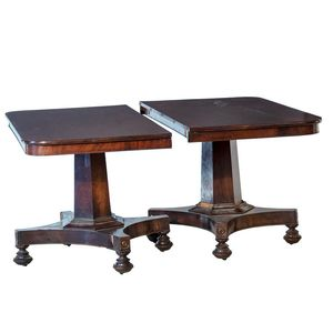 Early Victorian Mahogany Twin Pedestal Extension Table Circa 1840 Quatrefoil Bases Supporting Hexagonal Columns Lacking Runner Supports For Leaves