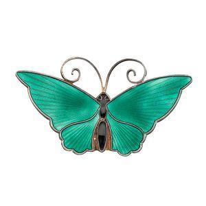 A Vintage Norwegian Enamel Butterfly Brooch, Dark Green Enamel Wings With Black  Enamel Body.stamped: Norway Sterling 925S. Silver Gilt.