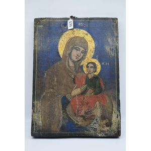 An icon on canvas in oils and gold leaf inlaid on wood - Religious