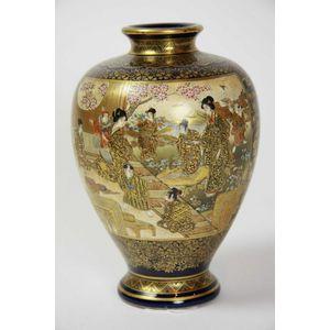 A Large Japanese Export Ware Satsuma Vase Circa 1950 The Ceramics Satsuma Oriental
