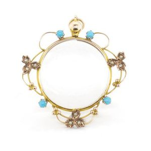 9a1553c0069 Edwardian 9ct yellow gold locket with double faced window, set with  turquoise and seed pearls. Marked 9ct 1904 Birmingham. Approx total weight  3.8 grams