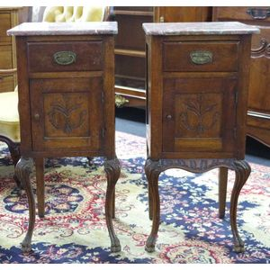 6a943c08cc Two French walnut bedside cabinets with marble tops, one cabinet with  bottom front frieze missing, 41 cm wide, 39 cm deep, 90 cm high