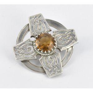 Vintage Scottish Edinburgh Hallmarked 1965 Silver and Citrine Celtic Knot Brooch 40mm diameter made by Thomas Ebutt.