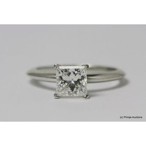 d9f245ee0ce A fine quality Princess cut diamond ring by Tiffany & Co., platinum,  crafted and retailed through Tiffany & Co. Presented as a classic, modern  solitaire ...