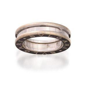 741c3e916dc39 18ct white gold 'B.Zero1' ring, Bulgari, centring a polished flat band  flanked by a raised edge, the sides engraved BVLGARI BVLGARI, size 48 (I),  ...
