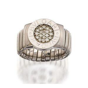 3c79e92e82b0c 18ct white gold and diamond 'BVLGARI-BVLGARI' ring, Bulgari, centring a  circular plaque pave-set with brilliant-cut diamonds framed by a raised  polished ...