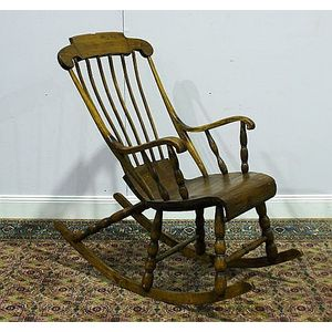 A Swedish Beech And Pine Rocking Chair, First Half 20th Century